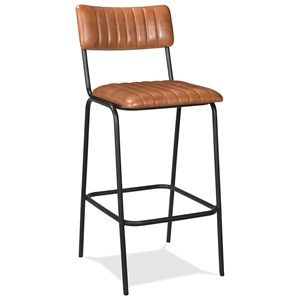 Contemporary Vertical Tufted Leather Bar Stool