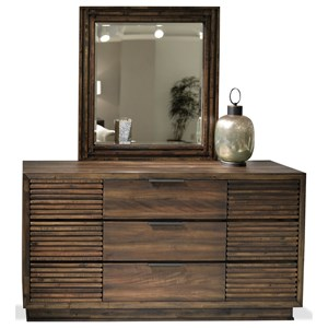 Contemporary Three Drawer Dresser and Mirror Set