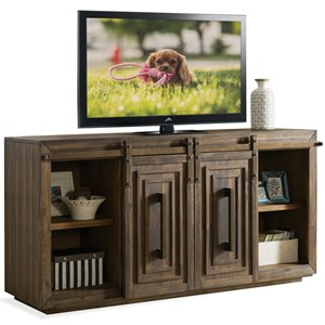 Contemporary 72 Inch TV Console with Sliding Barn Doors