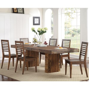 7 Piece Double Pedestal and Slat Back Chair Set
