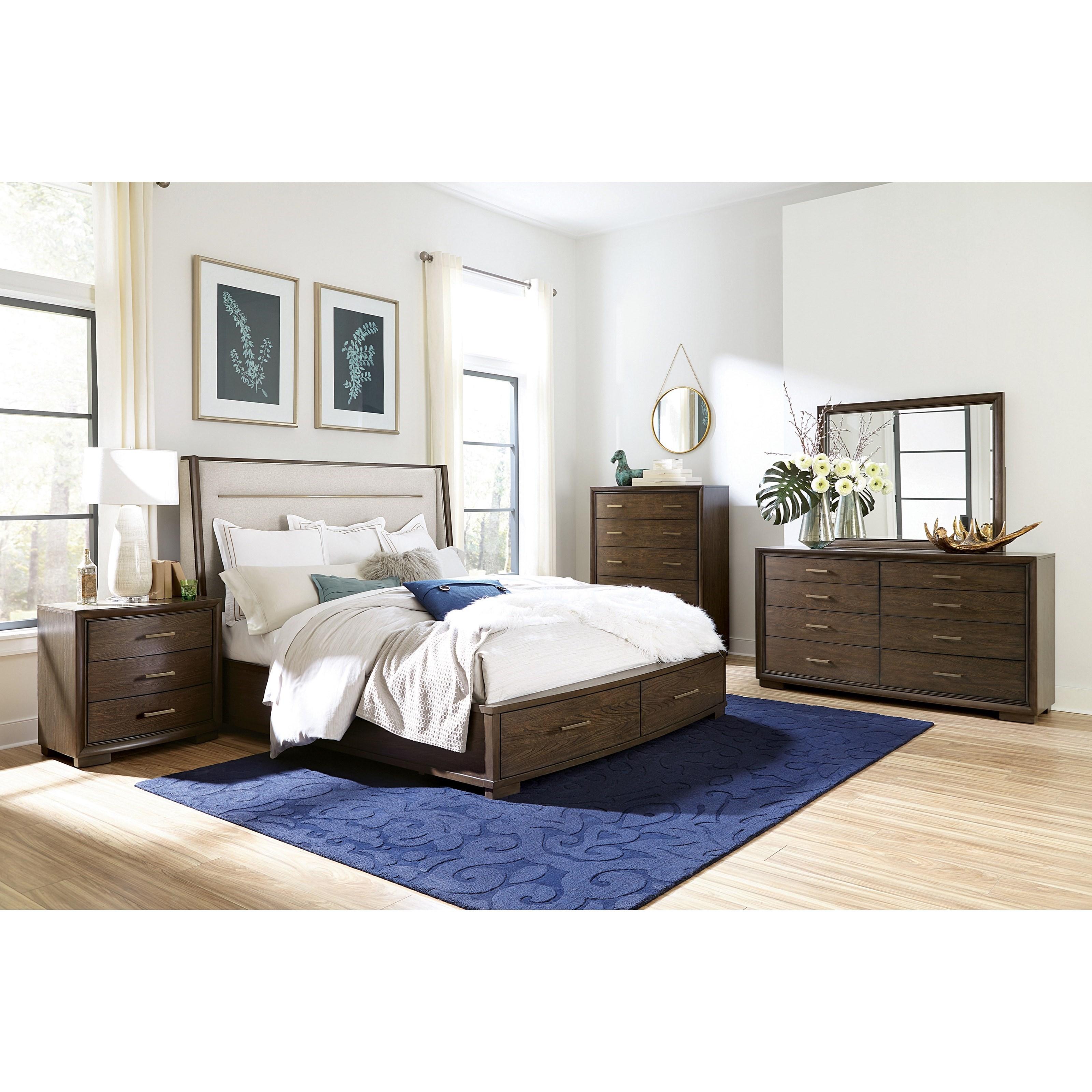 Monterey Queen Upholstered Storage Bedroom Group by Riverside Furniture at Mueller Furniture