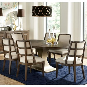 Transitional 7-Piece Oval Table and Hostess Chair Set