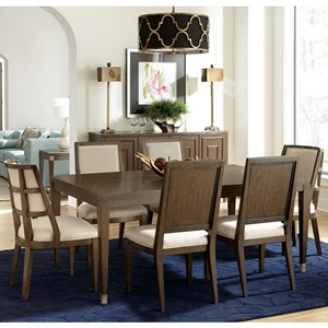 Transitional 7-Piece Leg Table and Upholstered Chair Set