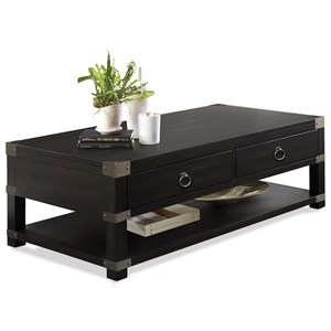Caster Cocktail Table with Metal Corner Accents