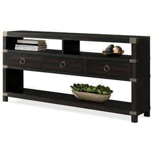 3 Drawer Console Table with Metal Corner Accents