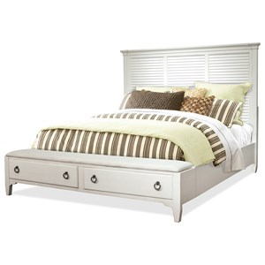 Transitional Queen Louver Storage Bed with 2 Footboard Drawers