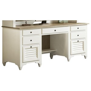 Credenza Desk with Louvered Drawers
