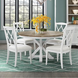 5 Piece Round Table and Upholstered XX-Back Chair Set