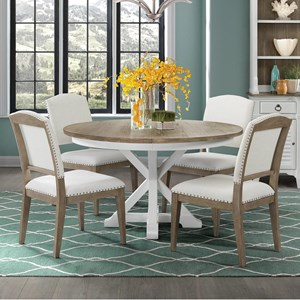 5 Piece Round Table and Upholstered Chair Set