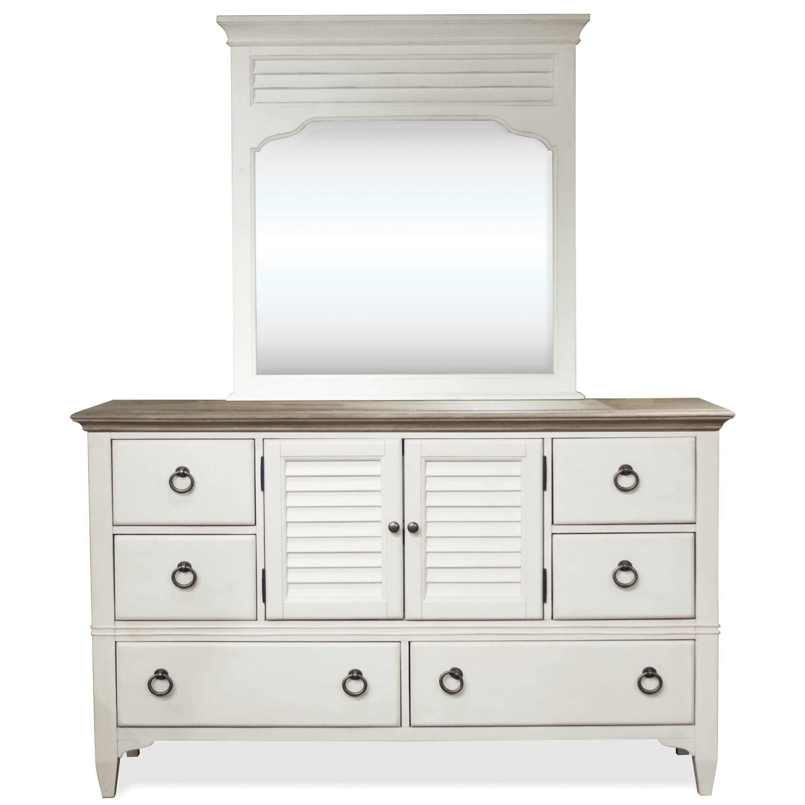 Myra Dresser and Mirror Combo by Riverside Furniture at Johnny Janosik