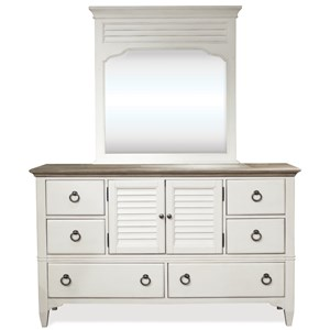 Transitional Door Dresser and Louvered Accent Mirror Combo