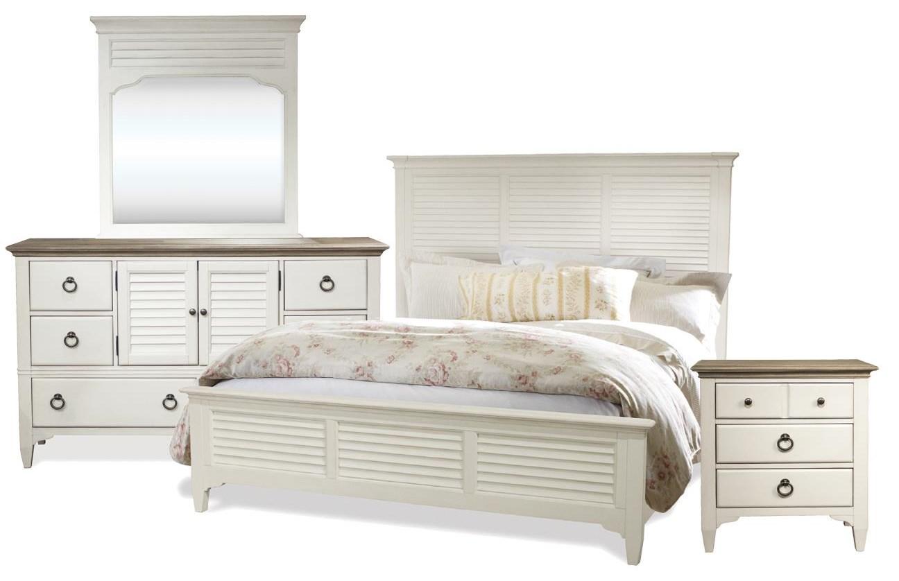 Myra King Bed, Dresser, Mirror, Nightstand by Riverside Furniture at Johnny Janosik