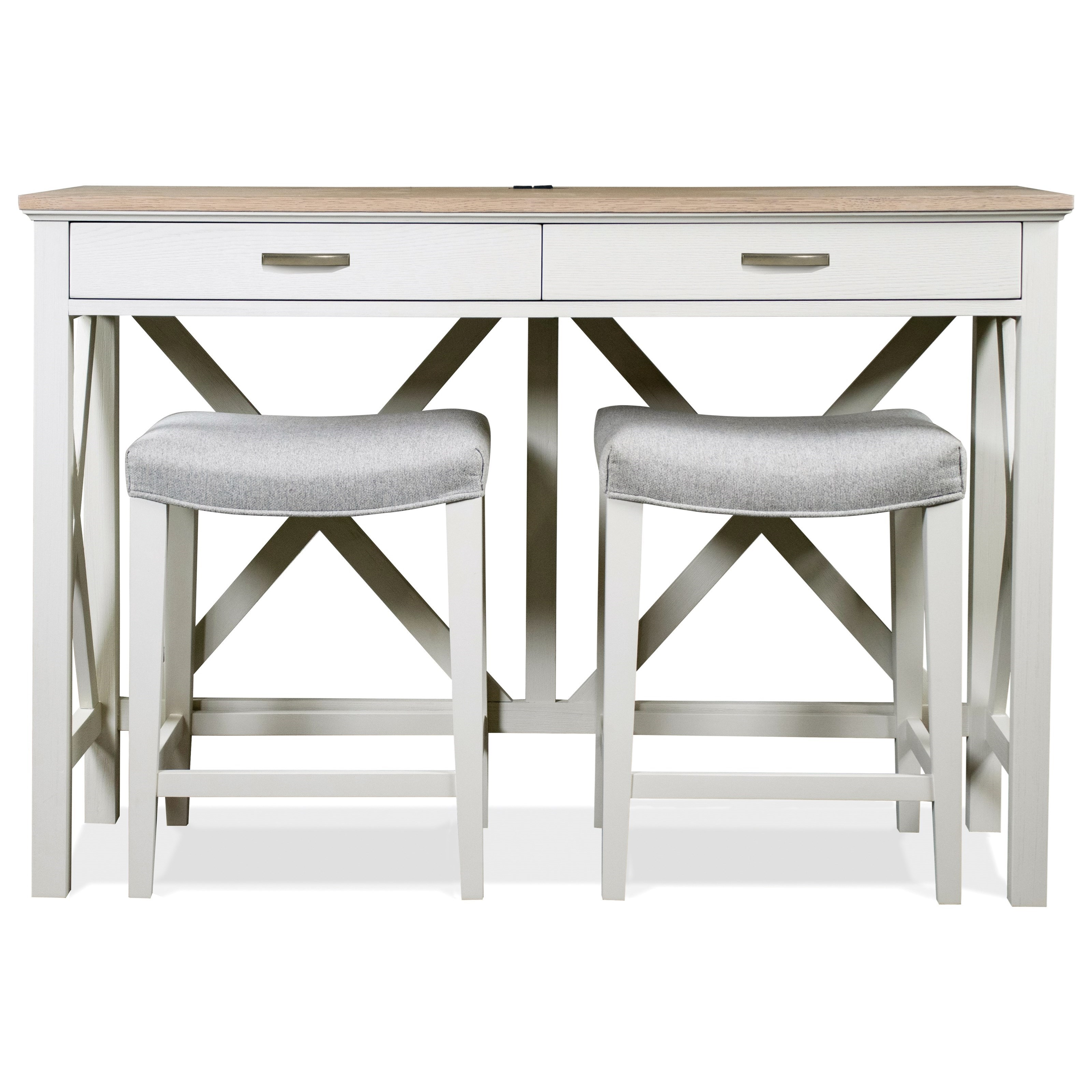 Osborne Console Table with Stools  by Riverside Furniture at Zak's Home
