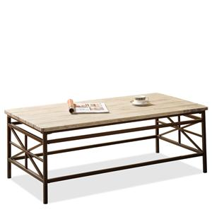 Rectangular Cocktail Table Constructed from a Solid Pine Plank Top with Metal Legs and Framework