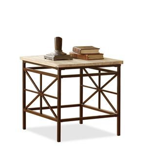 Solid Pine Plank Top End Table with Metal Legs and Framework