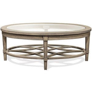 Oval Cocktail Table with Decorative Open Slat Bottom Shelf
