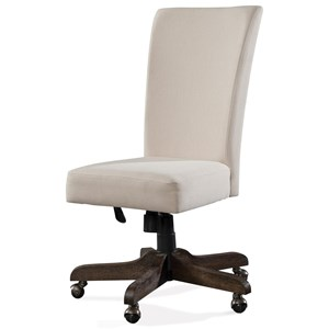Transitional Upholstered Back Desk Chair with Casters