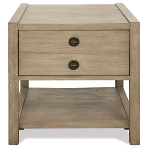 Transitional End Table with Open and Concealed Storage