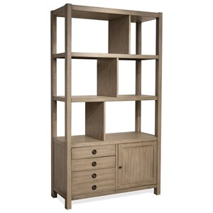 Transitional Bookcase Etagere with Open and Concealed Storage