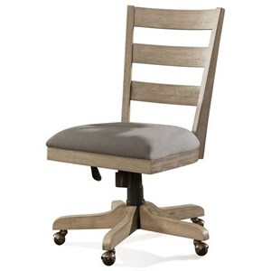 Transitional Wood Back Upholstered Desk Chair with Casters