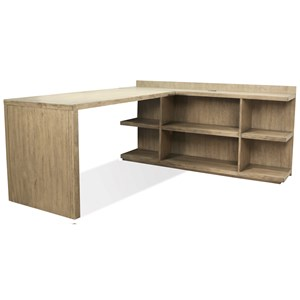 L Shape Desk with Peninsula Bookcase and Return