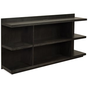 Peninsula Bookcase Desk with Outlet Bar in Top Panel
