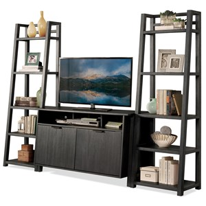 Entertainment Wall Unit with Console and Leaning Bookcases