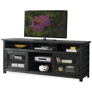 Rustic 74 Inch TV Console with Wire Management