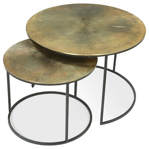 Nesting Coffee Tables with Aluminum-Wrapped Tops