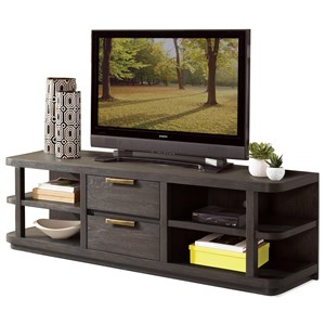 Contemporary Entertainment Console with 4 Shelves and Rounded Corners