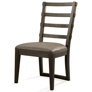 Upholstered Ladderback Side Chair with Faux Leather Seat