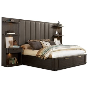 California King Tall Upholstered Storage Bed with 2 Footboard Drawers