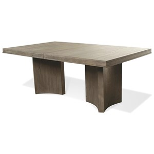 Contemporary Pedestal Dining Table with 2 Leaves