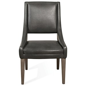 Contemporary Faux Leather Upholstered Hostess Chair with Cutout Detail