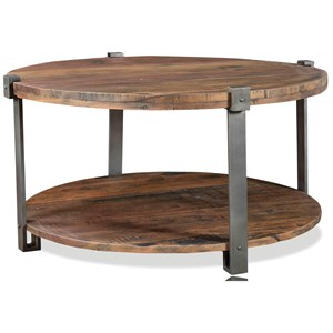 Reclaimed Wood Round Cocktail Table