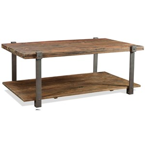 Rustic Rectangular Coffee Table with Bottom Shelf