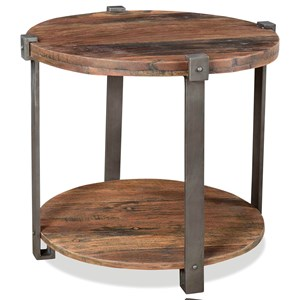 Rustic Round Side Table with Bottom Shelf