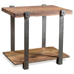 Rustic Rectangular Side Table with Open Bottom Shelf