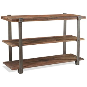 Rustic Console Table with 2 Shelves