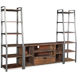 Reclaimed Wood Entertainment Unit with Open Shelving