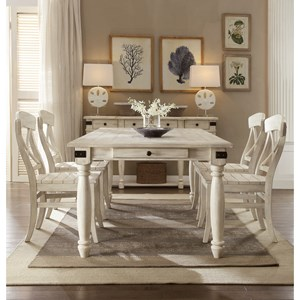 5 Piece 2 Drawer Dining Table and X-Back Chair Set