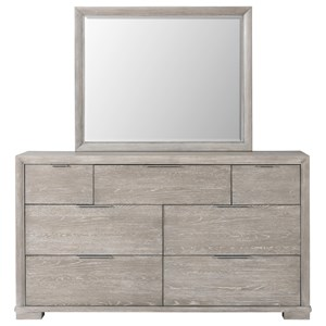 Casual Contemporary Dresser and Mirror Set with Felt-Lined Drawers