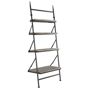 Industrial 4-Shelf Leaning Bookcase