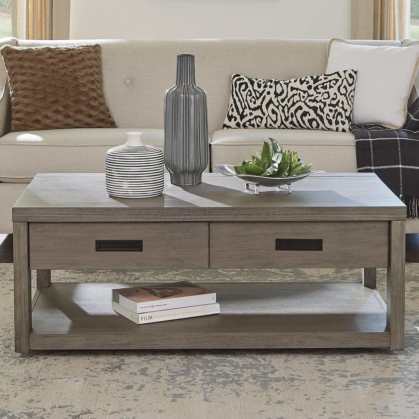 Riata Gray Rectangular Cocktail Table by Riverside Furniture at Zak's Home