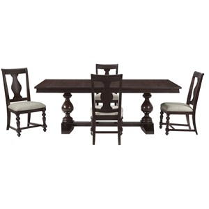 5-Piece Trestle Dining Table Set