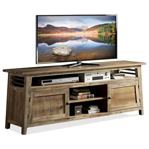 Industrial 76-Inch TV Console with Wire Management