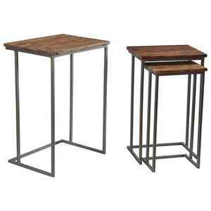 Contemporary Nesting End Table Set with Reclaimed Hardwood Tops