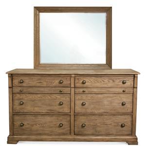Riverside Furniture Sherborne 6 Drawer Dresser & Landscape Mirror Set