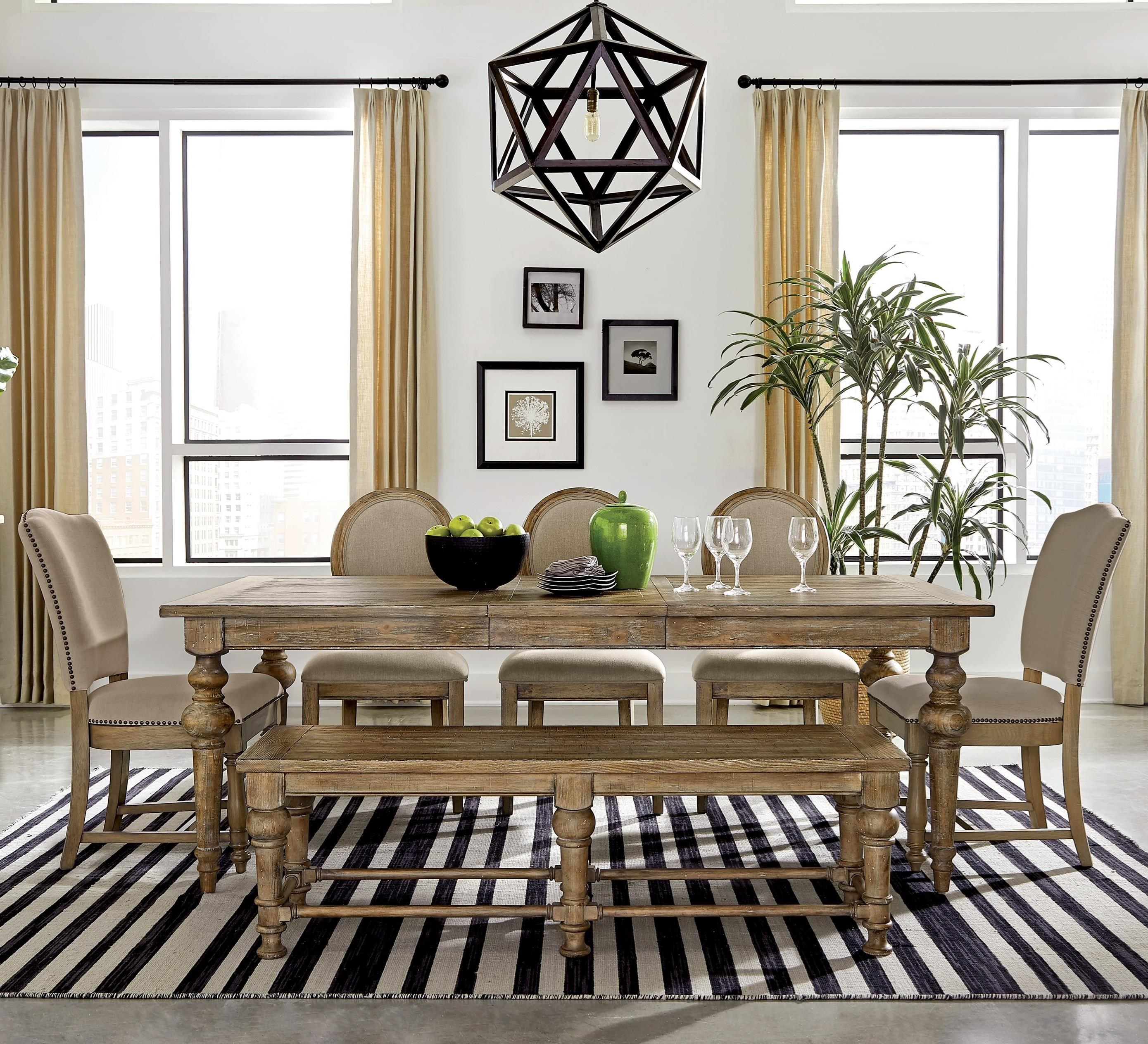 Sonora 7-Piece Table Set with Bench by Riverside Furniture at Zak's Home