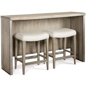 Sofa Table with Backless Upholstered Stools